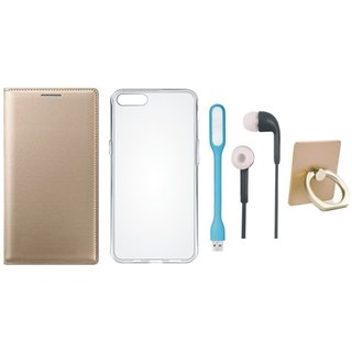 Samsung C9 Pro Leather Cover with Ring Stand Holder, Silicon Back Cover, Earphones and USB LED Light