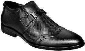Ostr Men's Formal Genuine Leather Black Slip On Shoe