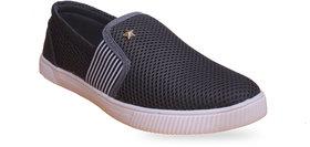 Footfit Grey Black Canvas Shoes For Men