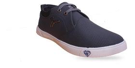 Footfit Men's Grey Black Lace Up Canvas Shoes