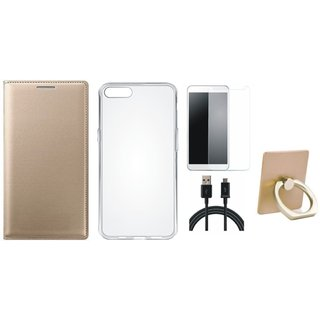 Moto C Luxury Cover with Ring Stand Holder, Silicon Back Cover, Tempered Glass and USB Cable