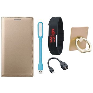 Samsung C9 Pro Premium Leather Cover with Ring Stand Holder, Digital Watch, OTG Cable and USB LED Light