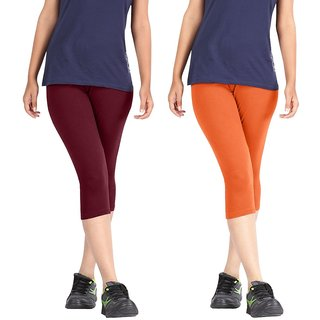 Pixie Women Super Fine Capri 190 GSM, Pack of 2 (Maroon and Orange) - Free Size