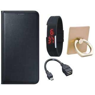 Samsung J7 Pro ( SM-J730G ) Leather Flip Cover with with Ring Stand Holder, Digital Watch and OTG Cable