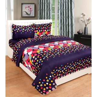BSB Trendz 180 Tc 3D Double Bedsheet With 2 Pillow Covers 90x100 Inches Pillow 17x27