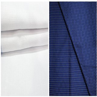 Kundan Sulz Gwalior Men's Executive 100% Pure Cotton  Blue Print Shirt & White Colour Pure Cotton Linen Look Trouser Fabric Combo Set ( 1 Pant Shirt Piece for Men )