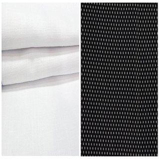 Kundan Sulz Gwalior Men's Executive 100% Pure Cotton  Black Print Shirt & White Colour Pure Cotton Linen Look Trouser Fabric Combo Set ( 1 Pant Shirt Piece for Men )