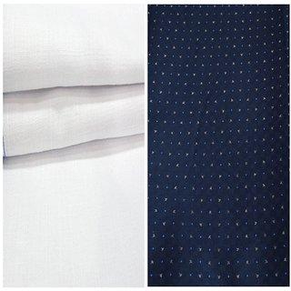 Kundan Sulz Gwalior Men's Executive 100% Pure Cotton  Blue Print Shirt & White Colour Pure Cotton Linen Look Trouser Fabric Combo Set ( 1 Pant Shirt Piece for Men )