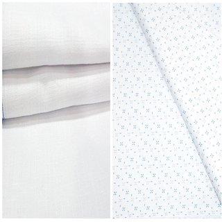 Kundan Sulz Gwalior Men's Executive 100% Pure Cotton  White Print Shirt & White Colour Pure Cotton Linen Look Trouser Fabric Combo Set ( 1 Pant Shirt Piece for Men )