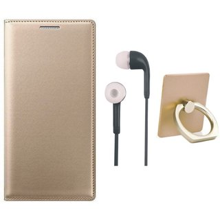 Samsung J7 Pro ( SM-J730G ) Flip Cover with Ring Stand Holder, Earphones
