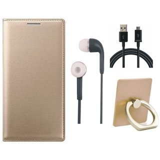 Samsung J7 Pro ( SM-J730G ) Premium Leather Cover with Ring Stand Holder, Earphones and USB Cable