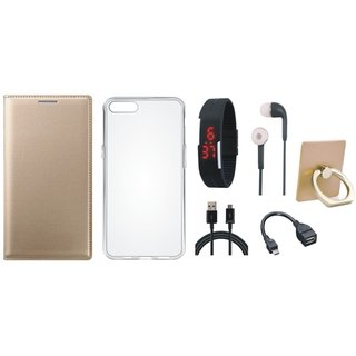 Samsung J7 Pro ( SM-J730G ) Flip Cover with Ring Stand Holder, Silicon Back Cover, Digital Watch, Earphones, OTG Cable and USB Cable