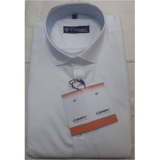 Mens Pure Cotton White Formal Shirt (Apple Cut M-L-XL)