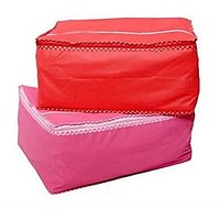Fashion Bizz  Non Woven Pink And Red Saree Bags Set Of