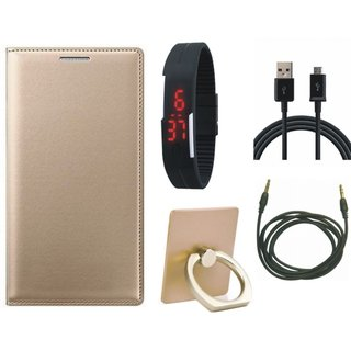 Samsung J7 Pro ( SM-J730G ) Stylish Cover with Ring Stand Holder, Digital Watch, USB Cable and AUX Cable