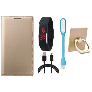 Samsung J7 Pro ( SM-J730G ) Stylish Cover with Ring Stand Holder, Digital Watch, USB LED Light and USB Cable