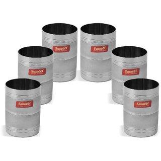Sumeet Designer 3D Stainless Steel  Glass set of 6Pcs (300 Ml Each)