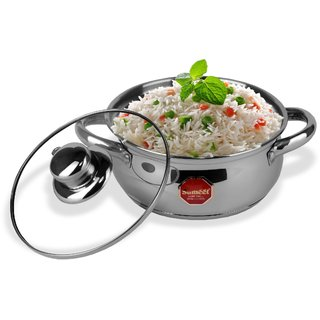 Sumeet Stainless Steel Induction Bottom (Encapsulated Bottom) Induction & Gas Stove Friendly Belly Shape Cook and Serve Casserole No. 9 (1 Ltr) with Glass Lid