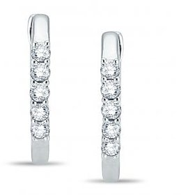 Pure Gold Jewellers 18kt White gold Hoops with 10pcs of 0.35cts Diamonds