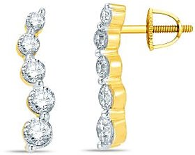 Pure Gold Jewellers 18kt Yellow gold Half Bali with 40pcs of 0.44cts Diamonds