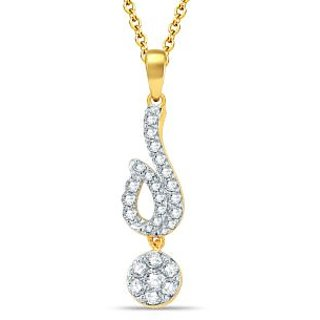 Pure Gold Jewellers 18kt Yellow gold Illusion Pendant with 27pcs of 0.65cts Diamonds