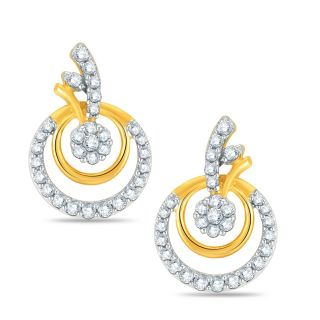Pure Gold Jewellers 18kt Yellow gold Pressure Set Cluster Earring with 60pcs of 0.36cts Diamonds