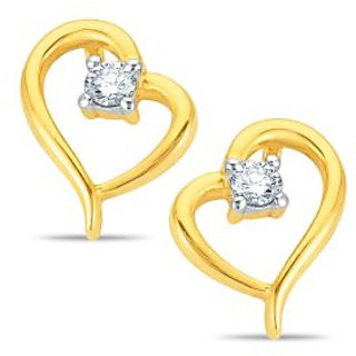Pure Gold Jewellers 18kt Yellow gold Heart Shape Earring with 2pcs of 0.11cts Diamonds