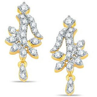 Pure Gold Jewellers 18kt Yellow gold Mangalsutra Earring with 38pcs of 0.48cts Diamonds