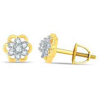 Pure Gold Jewellers 18kt Yellow gold Floral Cluster Earring with 14pcs of 0.12cts Diamonds