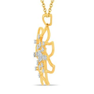 Pure Gold Jewellers 18kt Yellow gold Floral Cluster Pendant with 23pcs of 0.41cts Diamonds