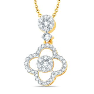 Pure Gold Jewellers 18kt Yellow gold Illusion Pendant with 43pcs of 0.66cts Diamonds