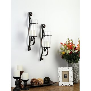 Hosley 48.26cm Set of 2 Decorative Wall Sconce/Candle Holder With Clear Glass (Antique Bronze)