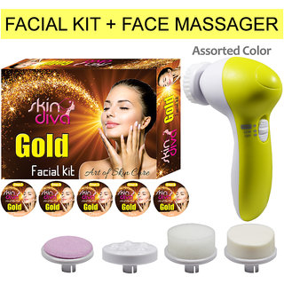 Skin Diva Gold Facial Kit-80g With Face Massager