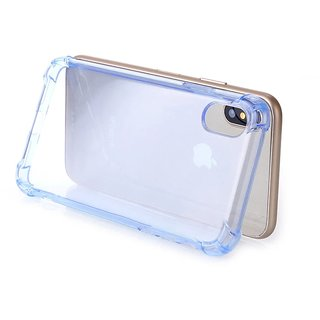 iPhone X Blue Shaded PU Shock Proof Back Case Cover with Four Bump at Corners