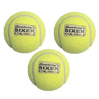 Pack of 3 Sixer Finest Cricket Tennis Balls for Indoor and Outdoor Use in Yellow Color