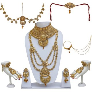Lucky Jewellery Bridal Golden Color Alloy Gold Plated Wedding Jewellery Set  For Girls Women 0563468459