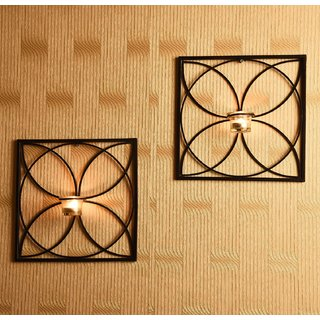 Hosley Set of 2 Antique Bronze Decorative Wall Sconce with Clear Glass and Free Tealights