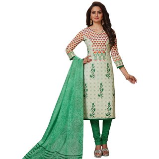 SALWAR HOUSE Off White Printed Cotton Unstitched Dress Material for Women