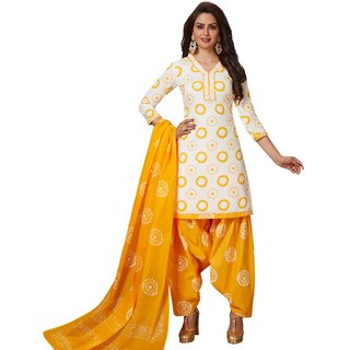 SALWAR HOUSE White Printed Cotton Unstitched Dress Material for Women