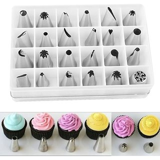 Crownlit 24 Pieces Different Shapes Nozzle Piping Set for Decorating Cakes, Muffins, Chocolates, Biscuits