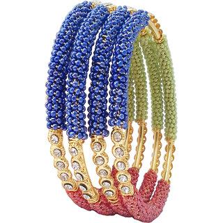 Bhagya lakshmi gold plated english colour ad stone bangles