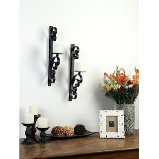 Hosley Set of 2 Decorative Wall Sconce/Candle Holder with Free Candles  (Black Matte)