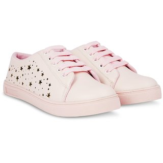 buy blinder women's pink golden stars casual sneakers lace