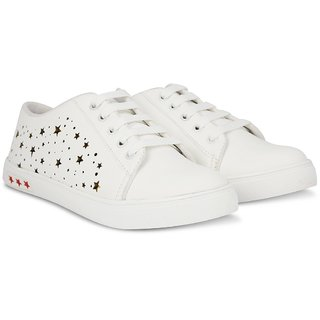 Blinder Women's Pure White Golden Stars Casual Sneakers Lace-Up Trendy Shoes