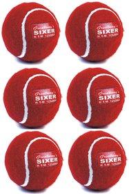Pack of 6 Pcs Sixer Finest Cricket Tennis Balls for Indoor  Outdoor