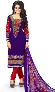 Meia Women's Purple and Maroon Colored Crepe Printed Unstitched Dress Material