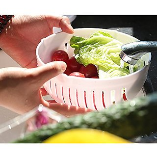 BANQLYN New Salad Cutter Bowl, Letsfunny Vegetable Cutter Bowl, To Slice Fruit Vegetable In 60 Seconds (White)