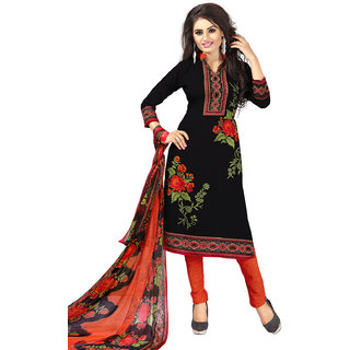 Meia Black Crepe Floral Unstitched Dress Material