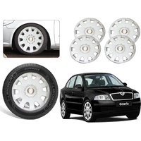Premium Quality Car Full Wheel Covers Caps Silver Colour 15inches - Skoda Octavia - Set Of 4pcs