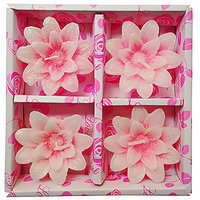 Zanky Pink Flower Candle-Pack Of 4 (ZYCNL22)